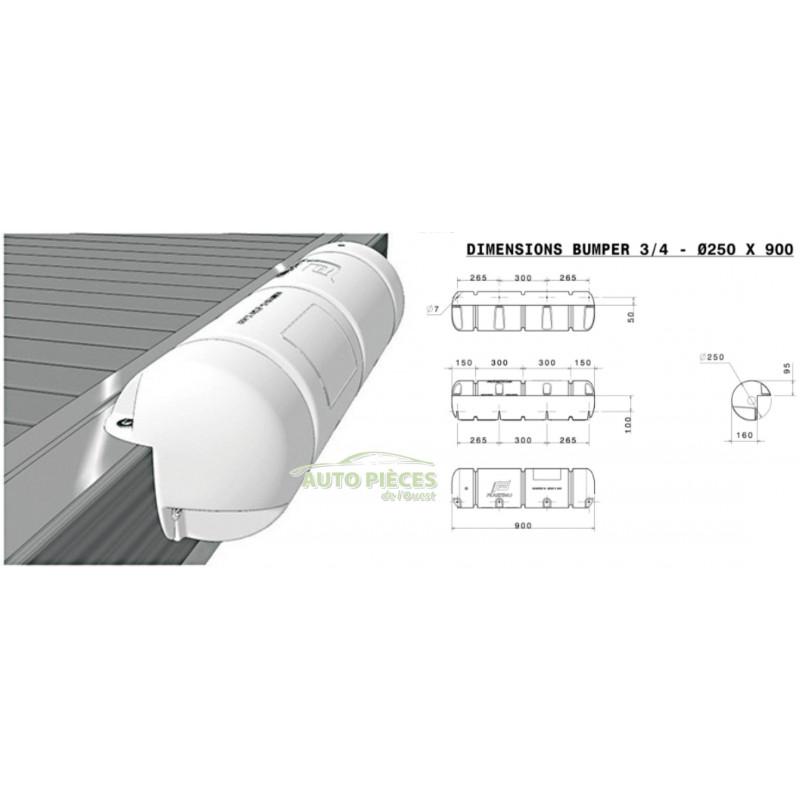 Plastimo Stegfender Dock Fender aufblasbar 900X250 mm Rammschutz 3//4 Bumper