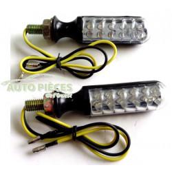 2 FEUX MINI CLIGNOTANT CYLINDRIQUE MOTO 12 LED