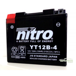 BATTERIE MOTO NITRO YT12B-4 12V 10Ah 15 x 13 x 6.9 cm