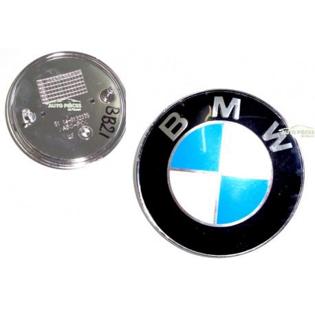SIGLE EMBLEME LOGO BMW 82 MM 51148132375 CAPOT BMW BLEU