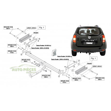 attelage brink thule dacia duster 4x4 4x2 a partir de 2010. Black Bedroom Furniture Sets. Home Design Ideas