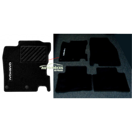 tapis de sol avant arriere nissan qashqai noir antiderapant jeu de 4 tapis. Black Bedroom Furniture Sets. Home Design Ideas